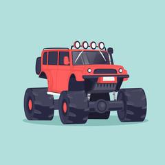 Big jeep. Flat design vector illustration.