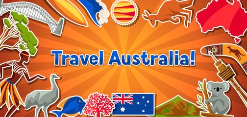 Australia banner design. Australian traditional sticker symbols and objects
