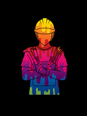 Engineer cartoon designed using colorful graphic vector