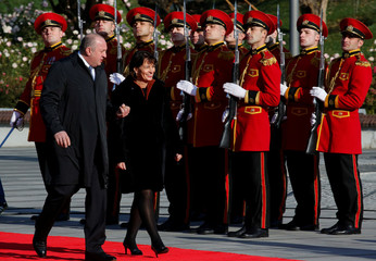 Georgia's President Margvelashvili and his Swiss counterpart Leuthard review honor guard during a welcoming ceremony in Tbilisi