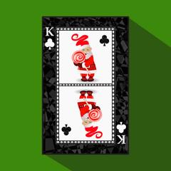 card New Year's poker. vector illustration