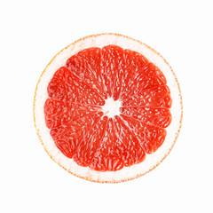 Slice juicy sweet grapefruit. Flat lay. Food concept. Isolated on white background