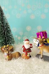 サンタクロースとクリスマスイメージ