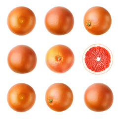 Isolated sweet grapefruit. Flat lay. Food concept. Isolated on white background