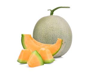 whole and slice of japanese melons, orange melon or cantaloupe melon isolated on white background