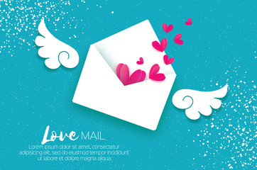 Greeting card for Valentine's day. Mail Love and envelope in paper cut style. Origami Pink Heart. Angel wings. Email. Be my valentine. 14 february. Message. Romantic card on sky blue. White day.
