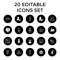 User icons. set of 20 editable filled and outline user icons