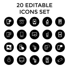 Smartphone icons. set of 20 editable filled and outline smartphone icons