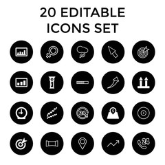 Arrow icons. set of 20 editable filled and outline arrow icons