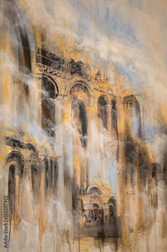 Abstract Painting Art Blurred Architecture With Yellow