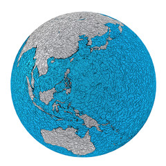 planet earth asia, australia, australasia, oceania rough metal