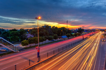 1 Dec 2017 Taman Perlin, Johor Bahru, Malaysia :Light trails at blue hour on road of traffic lights with long exposure photography