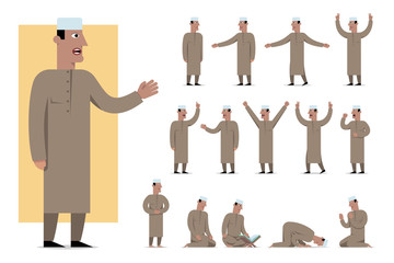 Set of traditionally clothed muslim character poses and emotions. Cartoon style, islam dress code.