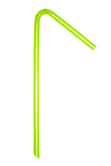 A single Green flexible drinking straw bent at an angle on a white background.
