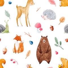 Fototapete - Watercolor baby pattern