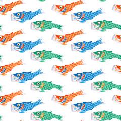 Koinobori (carp streamer). Fish Kites. Traditional japanese Celebrating Children's Day. Seamless background pattern.