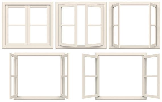 white window frame isolated on white background.