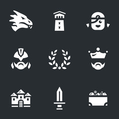 Vector Set of Dragon story Icons.