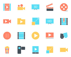 Video silhouette icons set. Vector pictograms