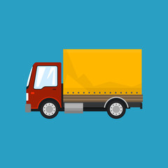 Red Orange Small Truck on Blue Background , Transportation and Cargo Delivery Services, Logistics, Shipping and Freight of Goods, Vector Illustration