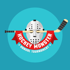 Flat hockey logo of retro hockey mask and stick with heraldic ribbon.