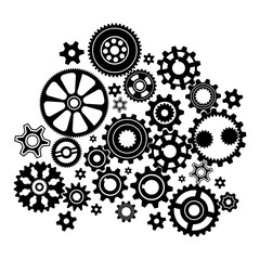 Complex mechanism of various gears and cogwheels - black and white illustration.