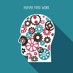 Complex mechanism of various gears and cogwheels in the silhouette of  human head. Flat illustration with long shadow.