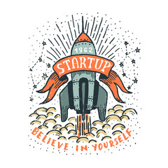 Startup doodle hand-drawn illustration with a flying rocket, ribbon and inscriptions. Grunge textures on  separate layer and can be easily disabled.