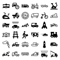Set of 36 vehicle filled and outline icons