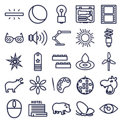 Set of 25 bright outline icons