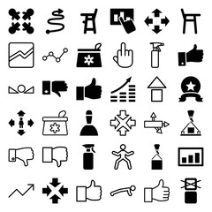 Set of 36 up filled and outline icons