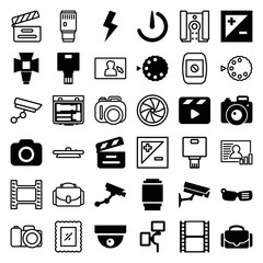 Set of 36 camera filled and outline icons