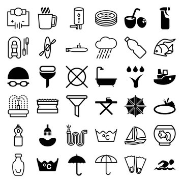 Set of 36 water filled and outline icons