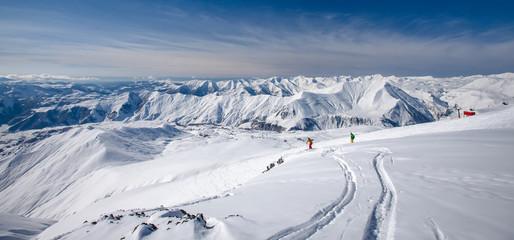 Beautiful landscape of Caucasus mountains, Gudauri ski resort, Georgia