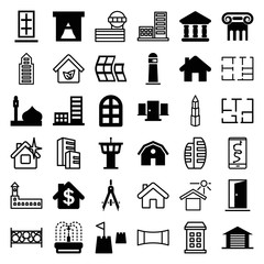 Set of 36 architecture filled and outline icons