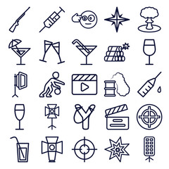 Set of 25 shot outline icons