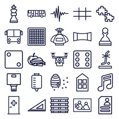 Set of 25 square outline icons