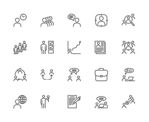 Simple Set of Head Hunting Related Vector Line Icons. Contains such Icons as Job Interview, Career Path, Add an Employee, Resume and more. Editable Stroke. 48x48 Pixel Perfect.