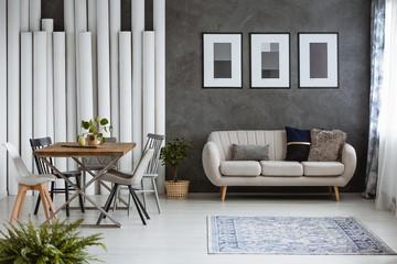 Multifunctional monochromatic living room