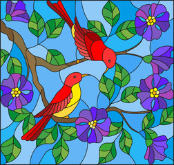 Foto op Canvas Papegaai Illustration in stained glass style with two two bright red birds on the branches of blooming wild rose on a background sky