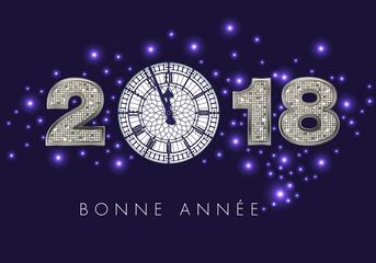 2018 - carte de vœux - fête - élégante - chic - réveillon - jour de l'an - heure - bonne année