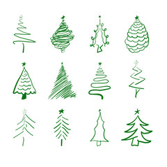 Set of hand drawn scratched christmas tree icons