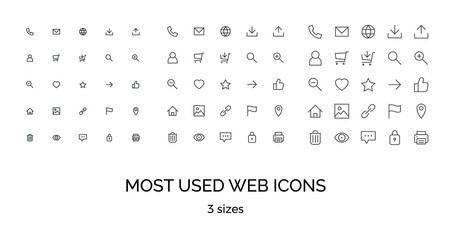 Most used webdesign icons, three sizes, ui set, vector illustration
