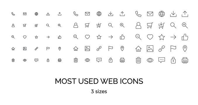 Most used webdesign icons, three sizes, ui set, vector illustration