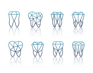 Tooth symbol set. Vector illustration