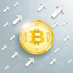 Golden Bitcoin Arrows Growth