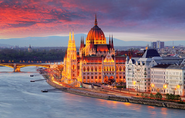 Printed roller blinds Budapest Hungarian parliament, Budapest at sunset