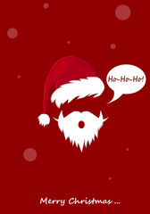 An abstract wintering mask of Santa Claus in a hat with a bubo and a beard. New Year's and Christmas.