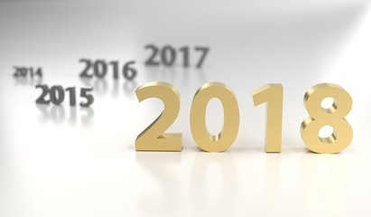 3D Rendering Of The New Year 2018 With Old Years Timeline