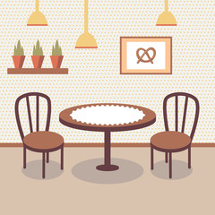 Flat bakery store interior with table covered with white cloth, two wooden chairs, potted plants and picture of pretzel on the wall. Cartoon vector